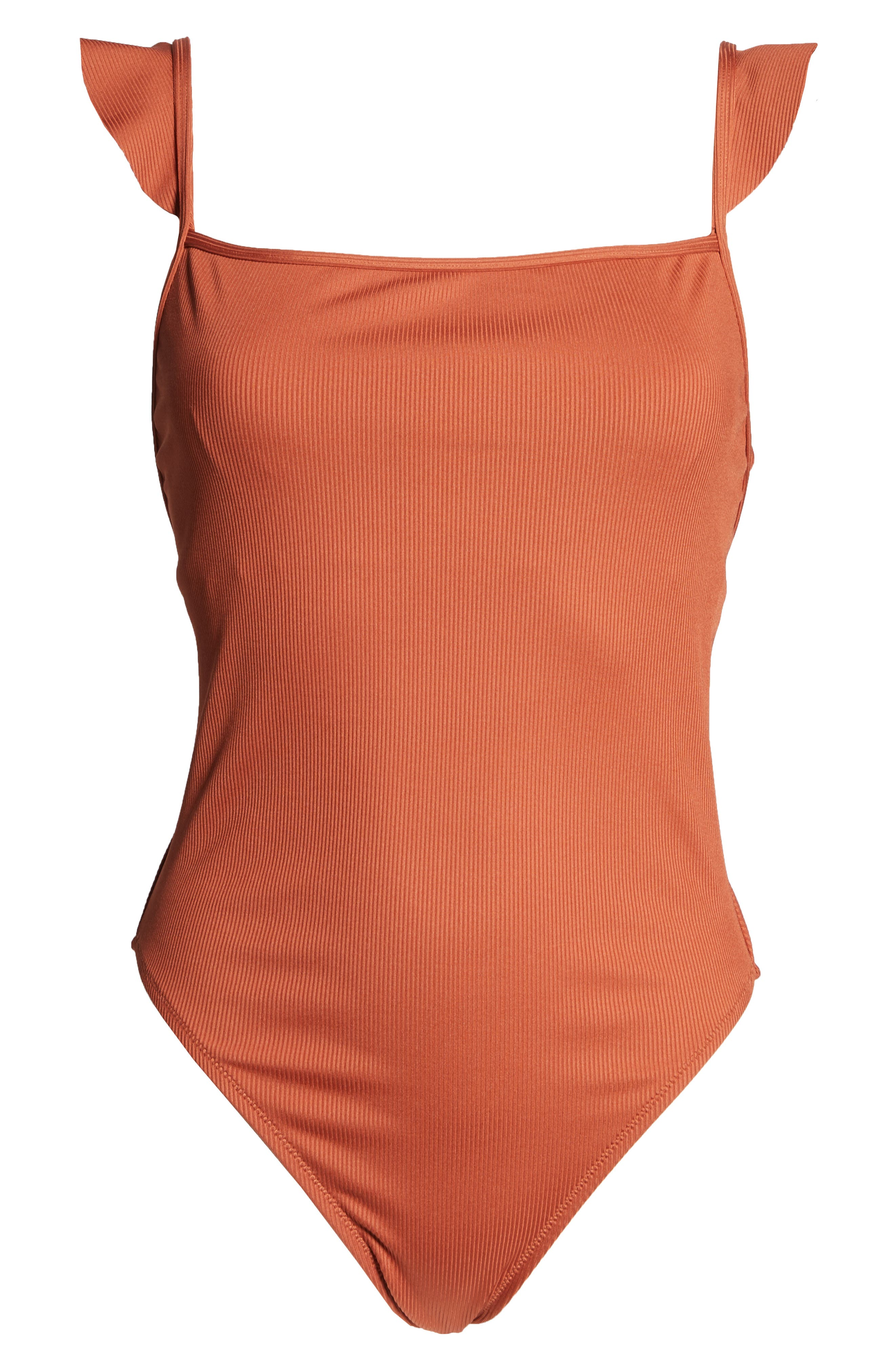 ,                             Second Wave Ribbed Ruffle-Strap One-Piece Swimsuit,                             Alternate thumbnail 10, color,                             AFTERGLOW RED