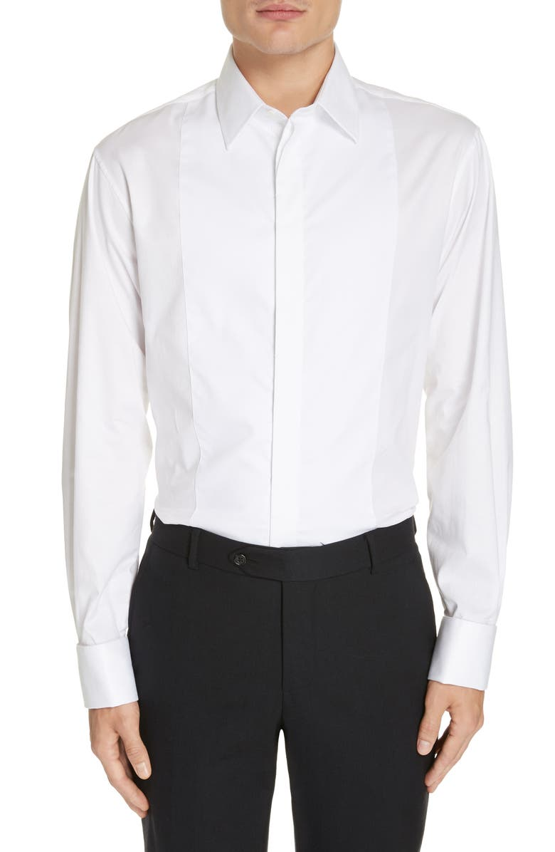 EMPORIO ARMANI Slim Fit Stretch Tuxedo Shirt, Main, color, SOLID WHITE