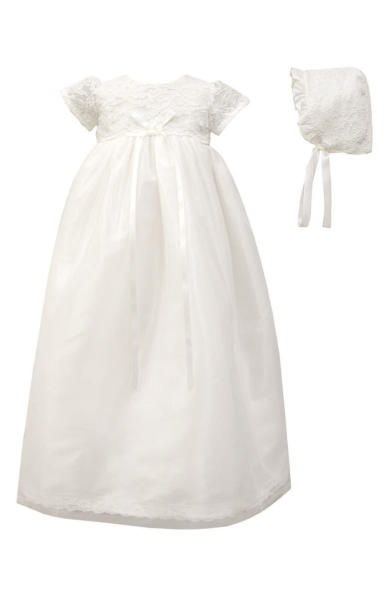 C.I. CASTRO & CO. Scalloped Lace Christening Gown & Bonnet Set, Main, color, 100