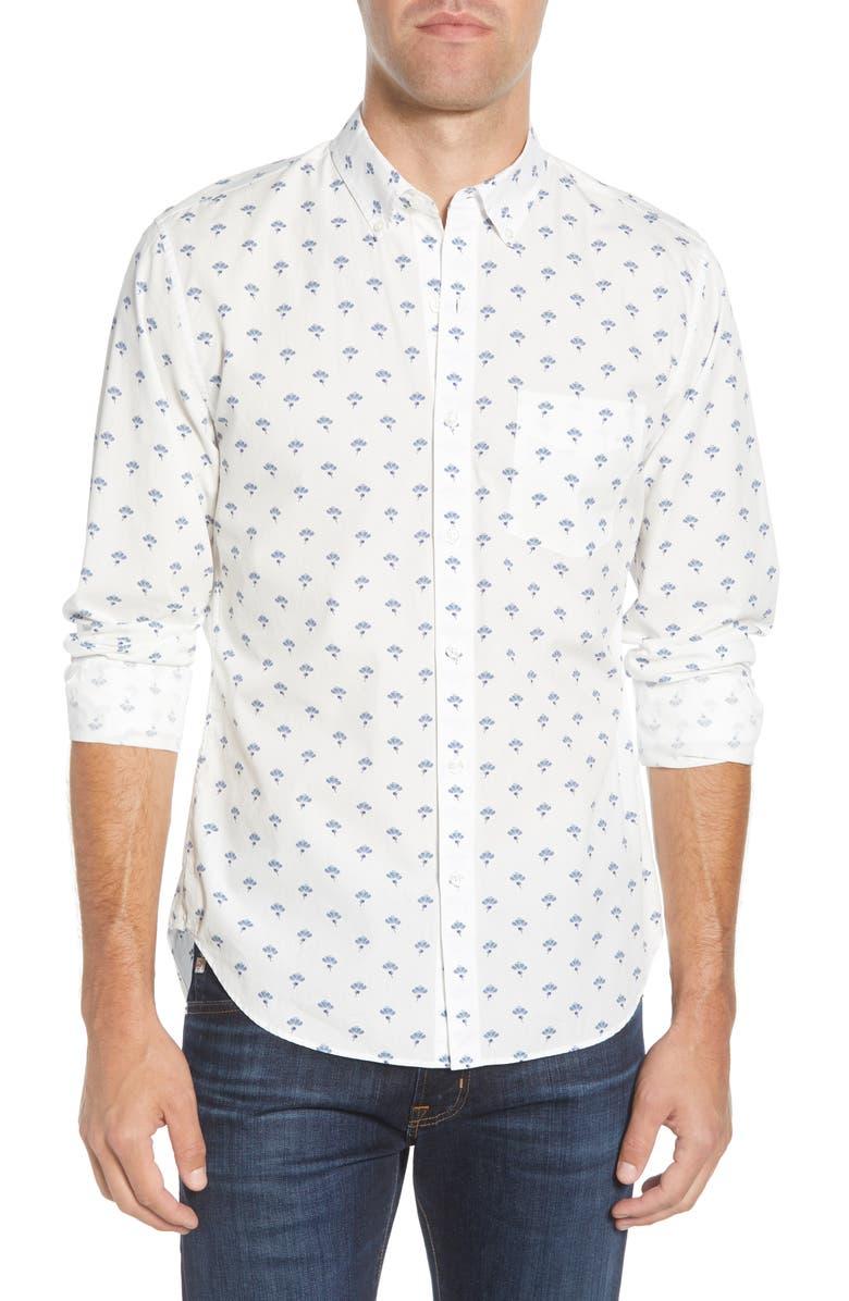 BONOBOS Slim Fit Floral Button-Down Sport Shirt, Main, color, FLOWER POP - SCANDIA BLUE