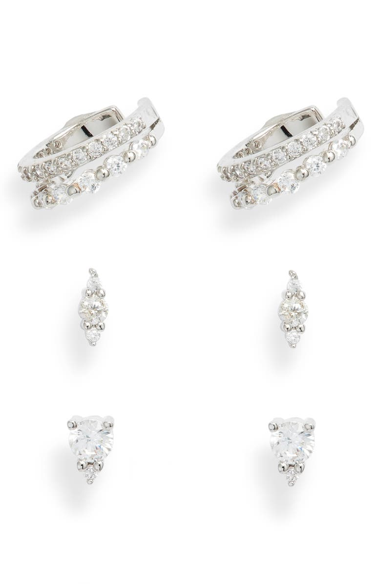 NORDSTROM Set of 3 Cubic Zirconia Ear Cuffs & Stud Earrings, Main, color, CLEAR- SILVER