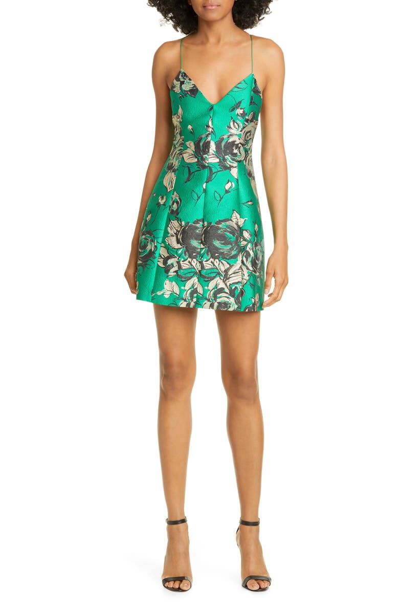 ALICE + OLIVIA Tayla Floral Structured Lantern Minidress, Main, color, DARK KELLY MULTI