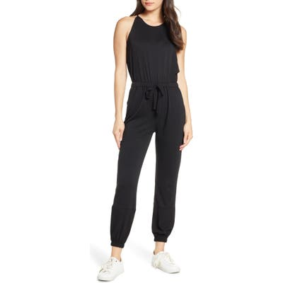 Fraiche By J Halter Neck Drawstring Waist Jumpsuit, Black