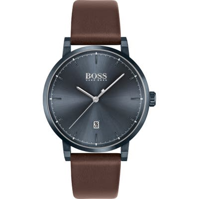 Boss Confidence Leather Strap Watch, 4m