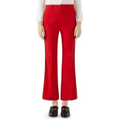 Gucci Side Stripe Stretch Cady Crop Flare Pants, US / 42 IT - Red