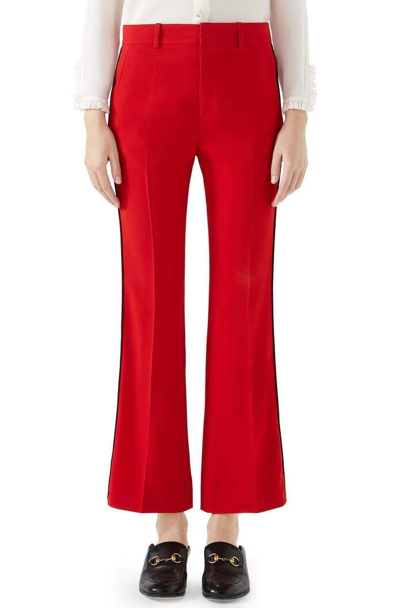 GUCCI Side Stripe Stretch Cady Crop Flare Pants, Main, color, RED