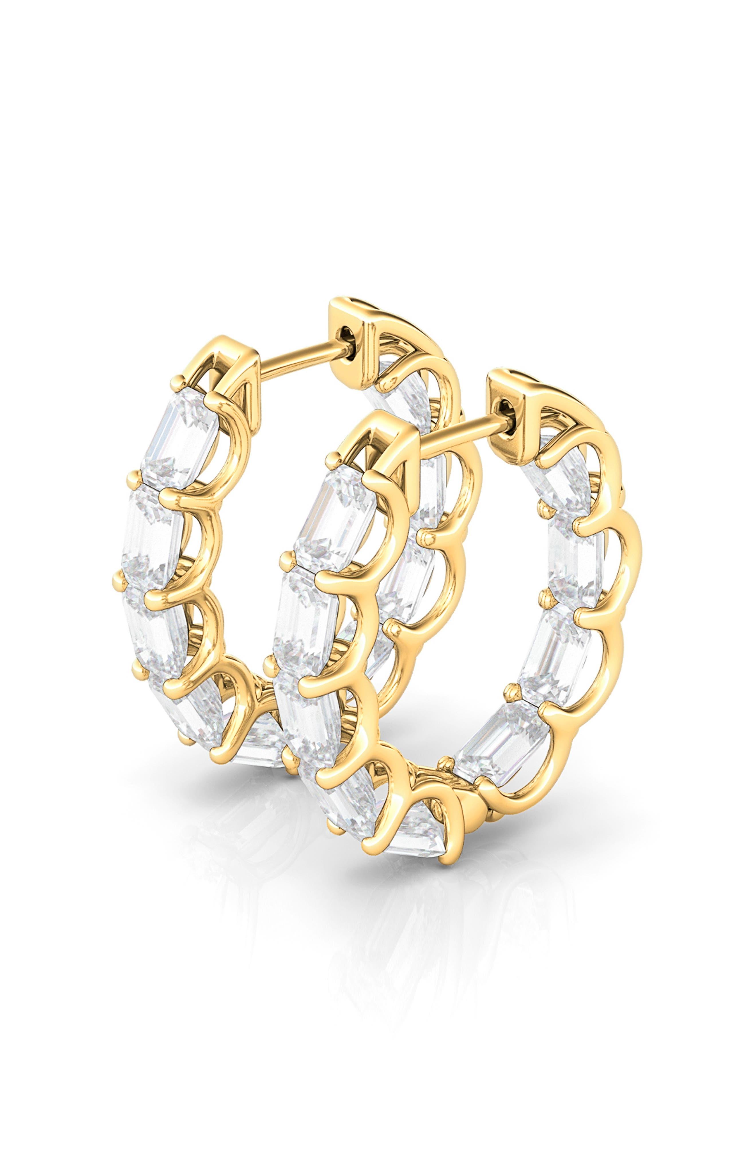 Lab-Created Diamond Inside Out 14K Gold Hoop Earrings