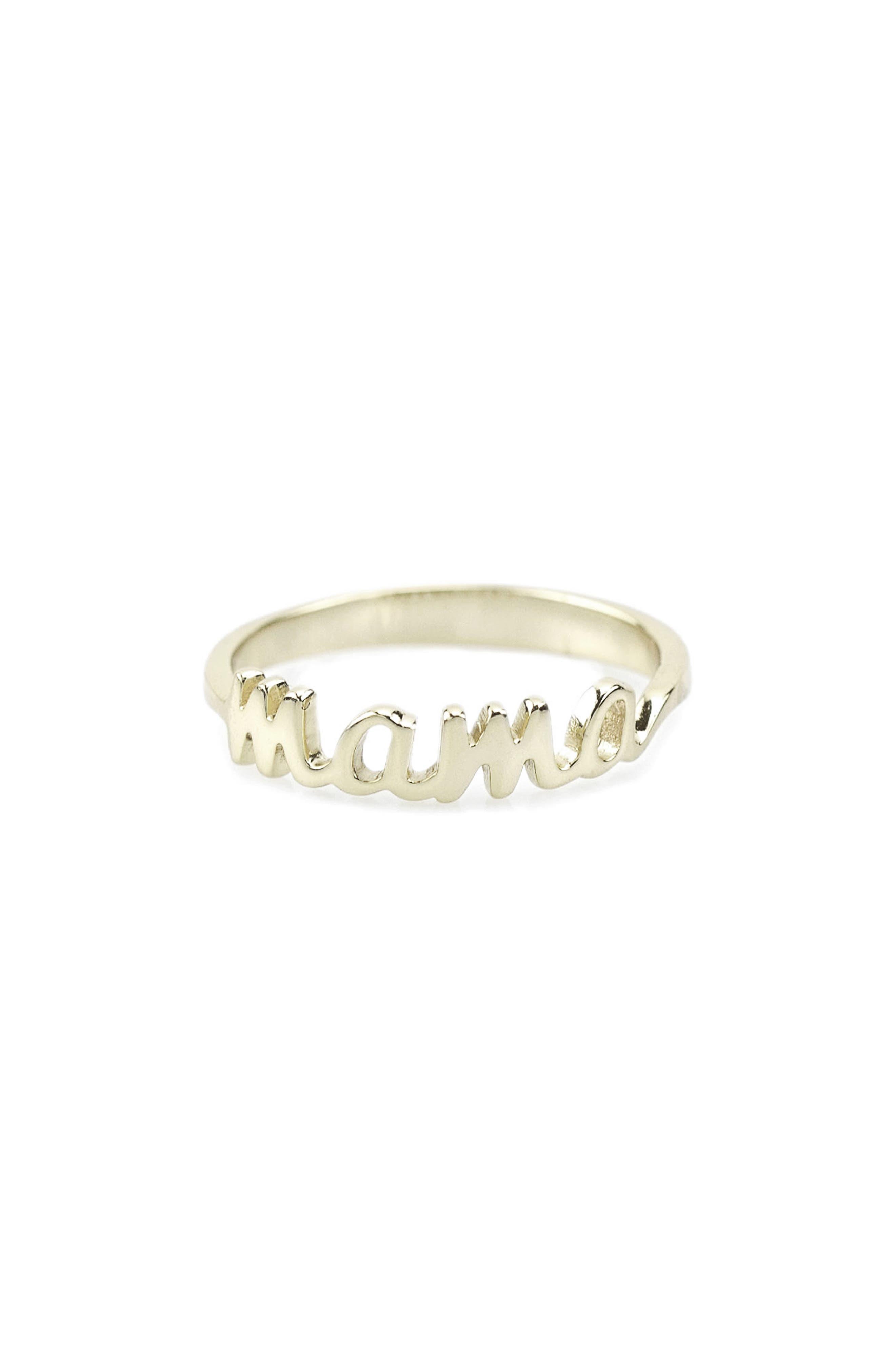 Mama Script Ring, Main, color, SILVER