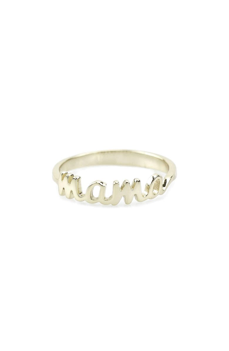 KRIS NATIONS Mama Script Ring, Main, color, SILVER