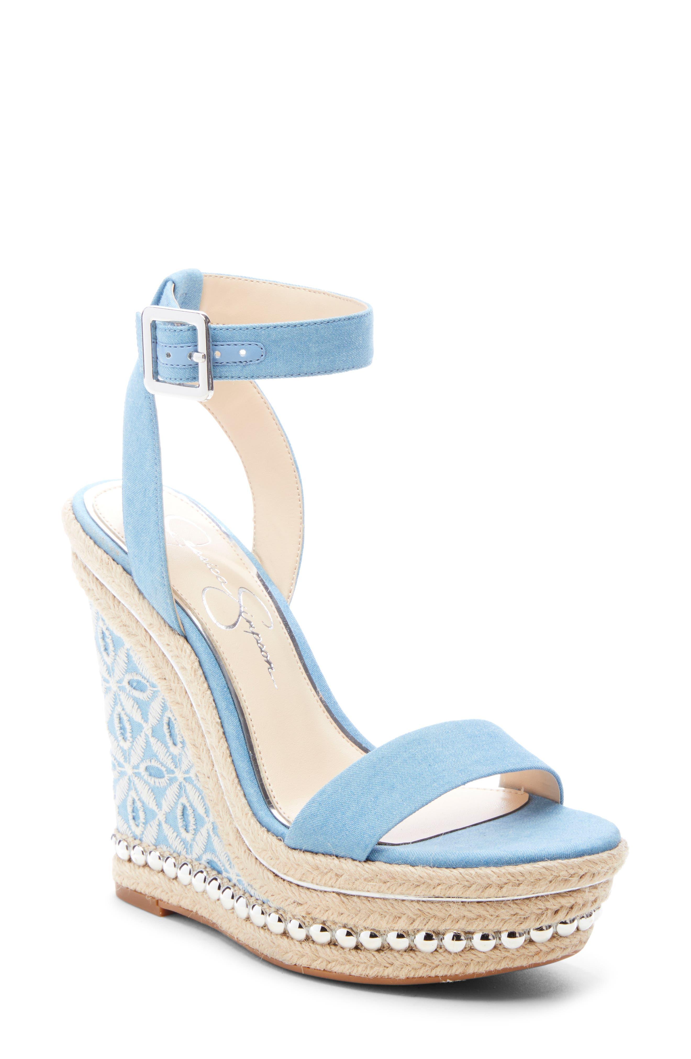 Jessica Simpson Alinda Embellished Wedge Sandal- Blue