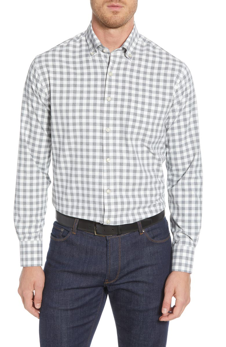 PETER MILLAR Jordan Natural Touch Regular Fit Gingham Button-Down Performance Shirt, Main, color, 025