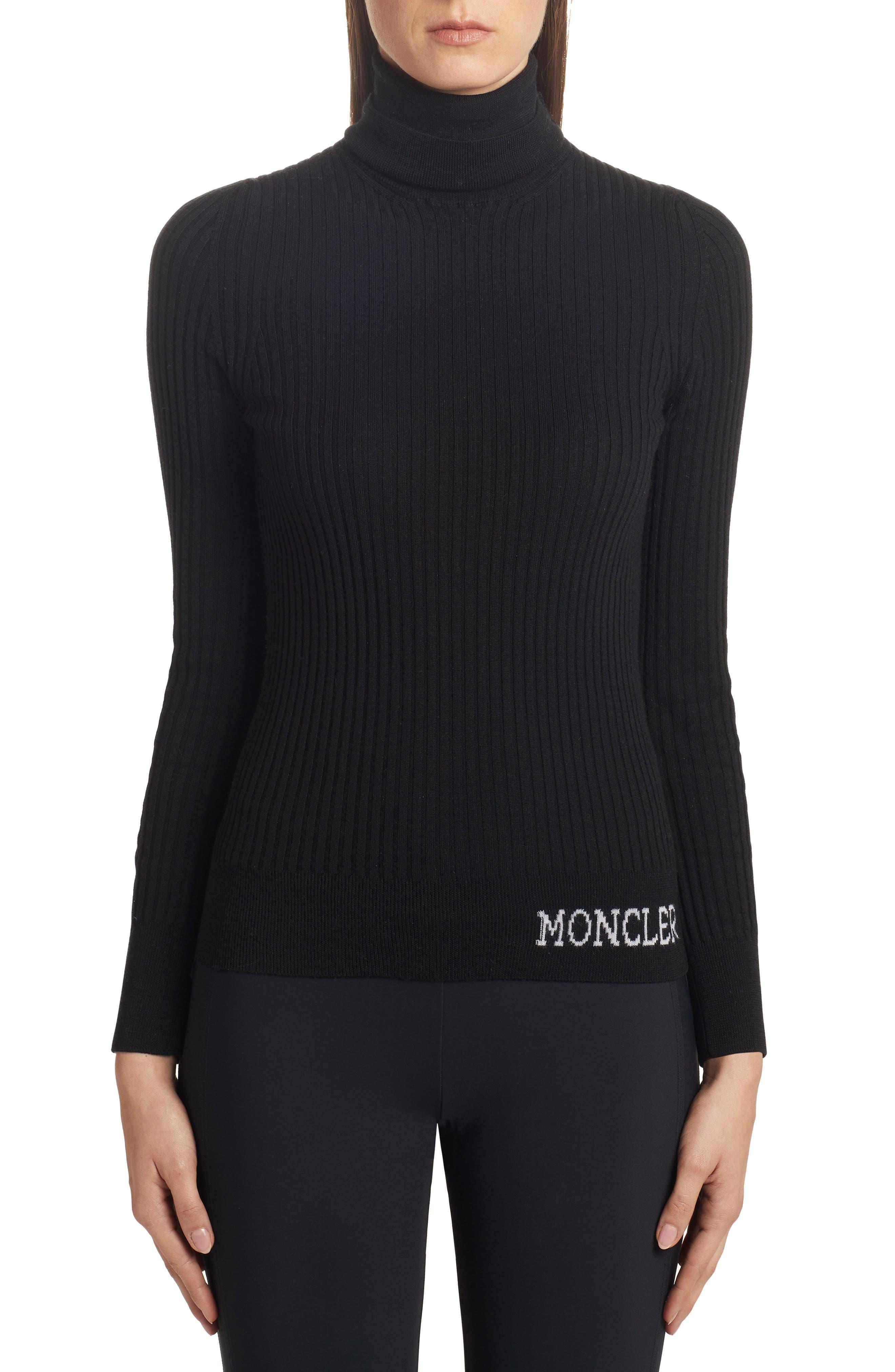 Moncler Tops Logo Turtleneck Sweater