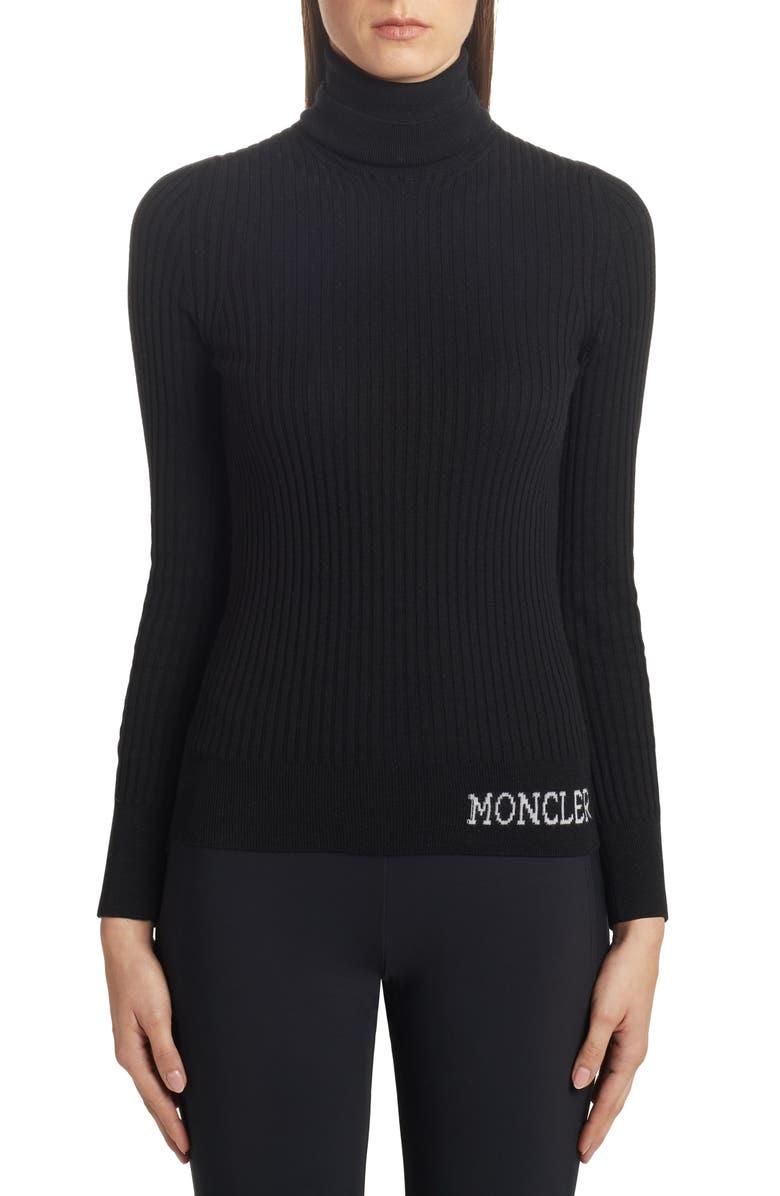 MONCLER Logo Turtleneck Sweater, Main, color, BLACK
