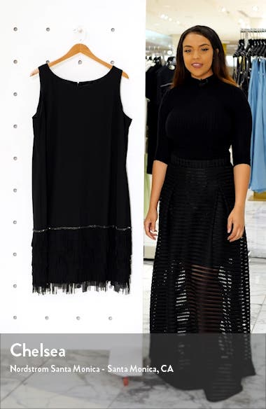 Sleeveless Fringe Hem Shift Dress, sales video thumbnail