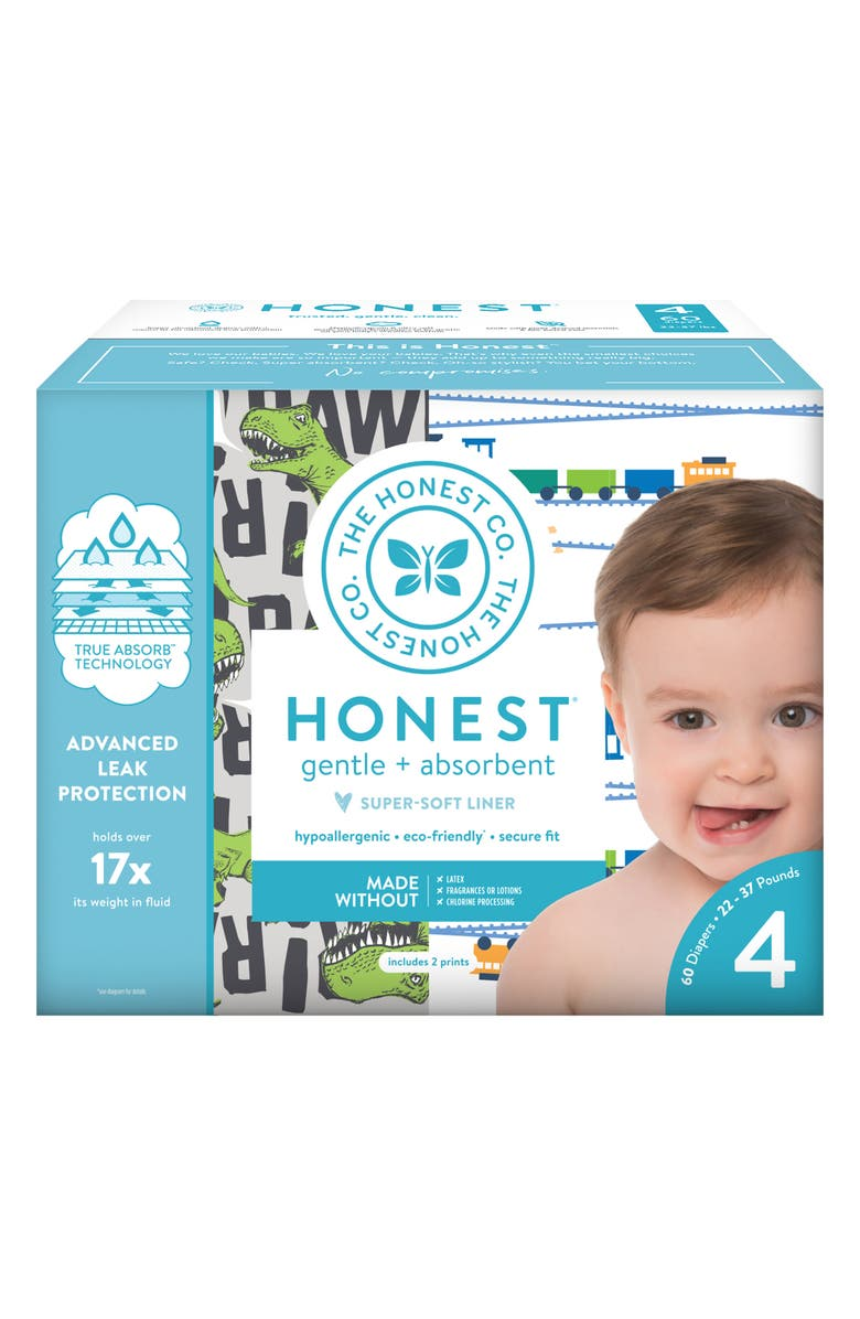 THE HONEST COMPANY T-Rex/Trains Size 4 Club Box Diapers, Main, color, T-REX/ TRAINS