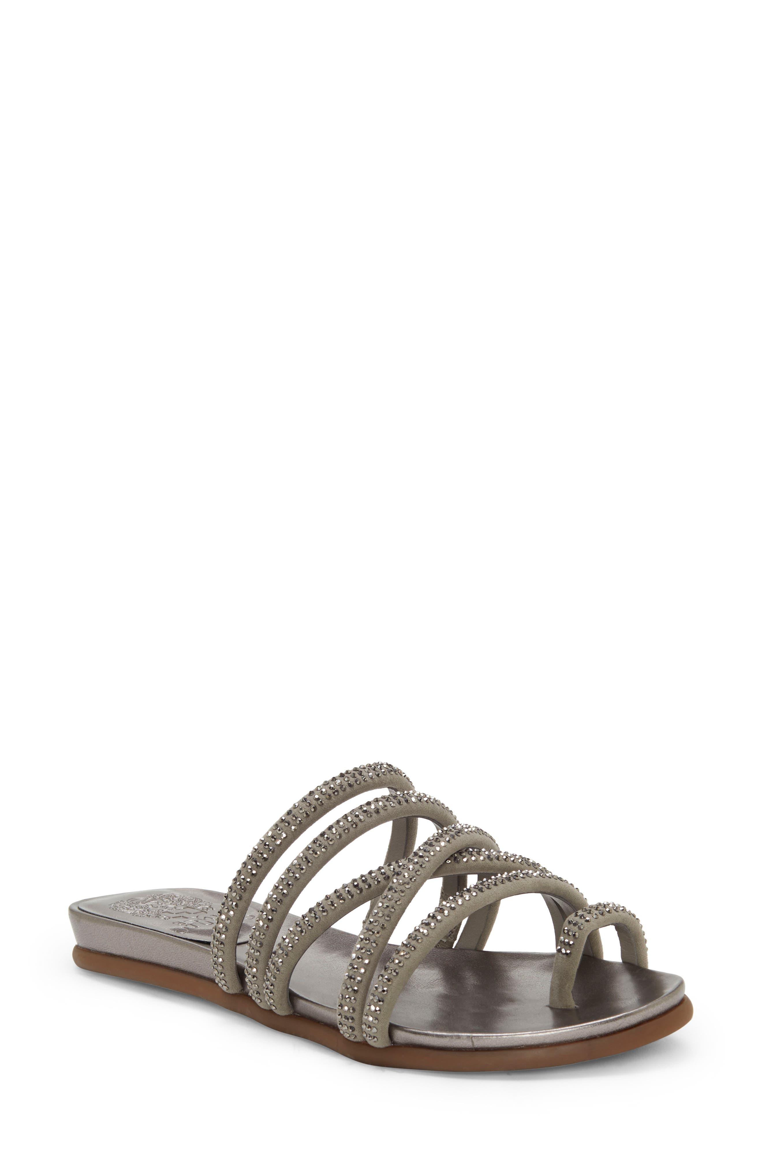 Vince Camuto Ezzina Crystal Embellished Slide Sandal, Grey