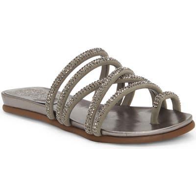 Vince Camuto Ezzina Crystal Embellished Slide Sandal- Grey