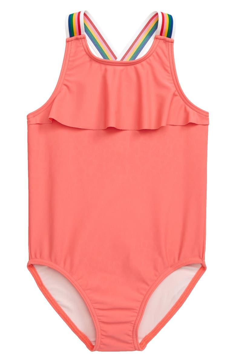 TUCKER + TATE Rainbow Splash Ruffle One-Piece Swimsuit, Main, color, CORAL GLOW
