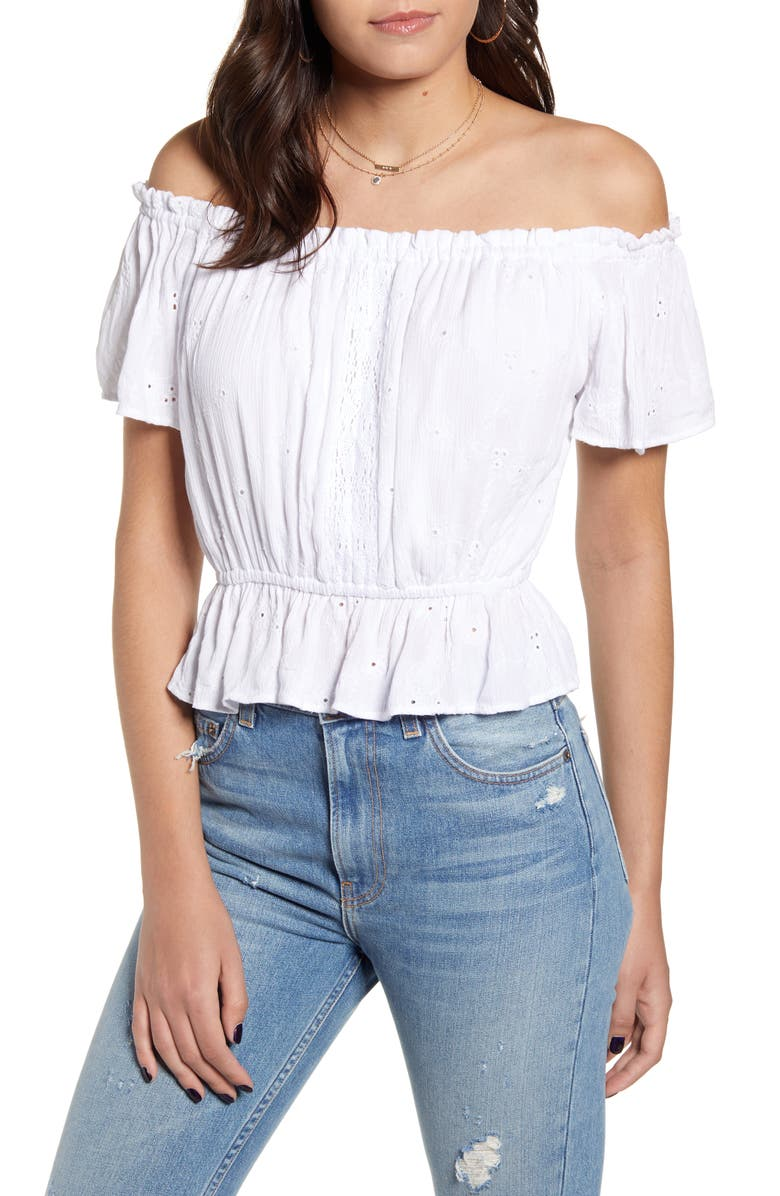 ANGIE Off the Shoulder Eyelet Top, Main, color, WHITE