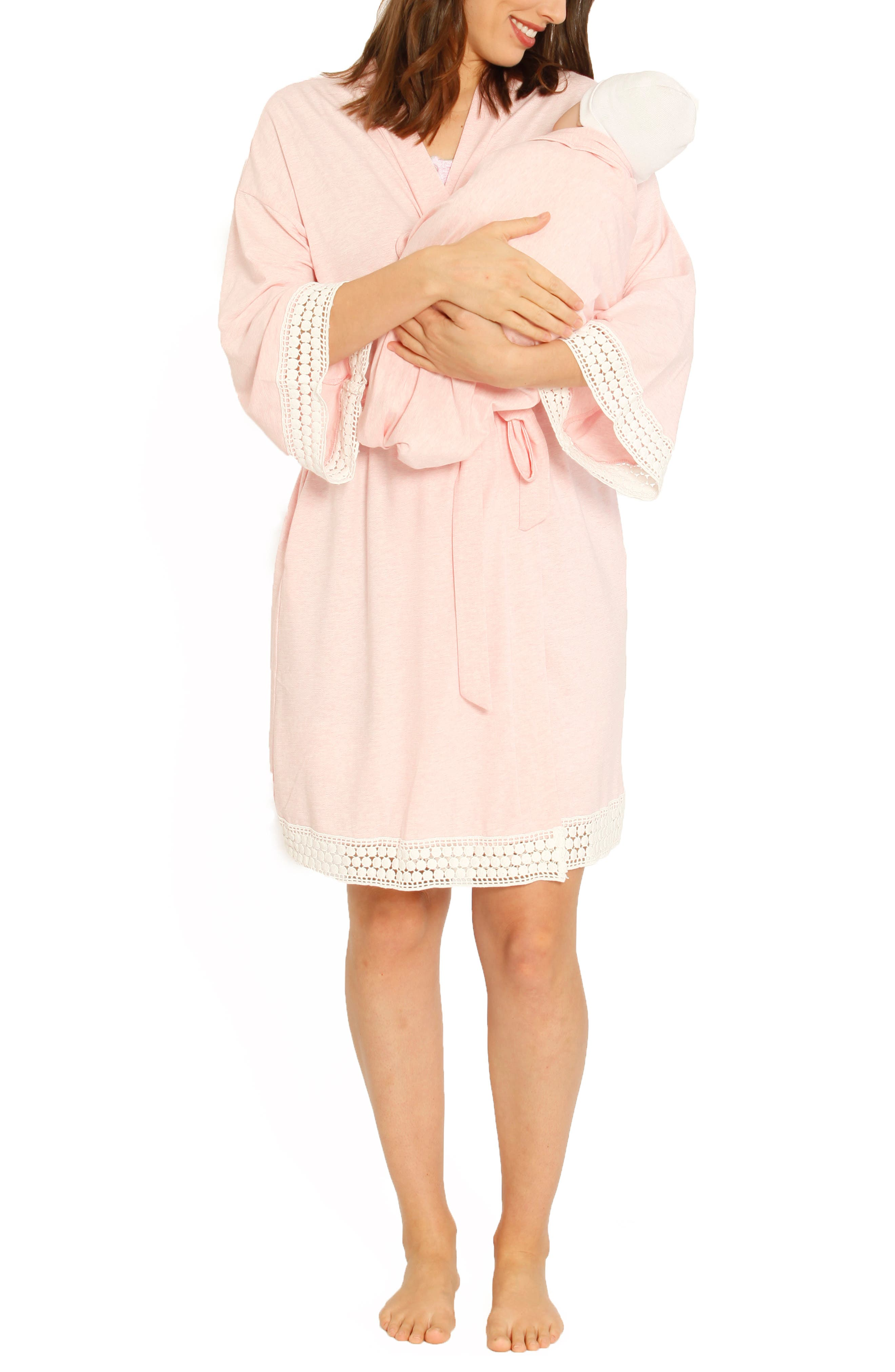 Ruby Joy Maternity/Nursing Sleep Shirt, Robe & Baby Blanket Pouch Set, Main, color, PINK