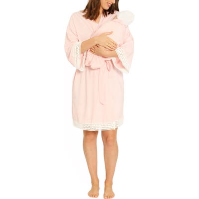 Angel Maternity Ruby Joy Maternity/nursing Sleep Shirt, Robe & Baby Blanket Pouch Set, Pink