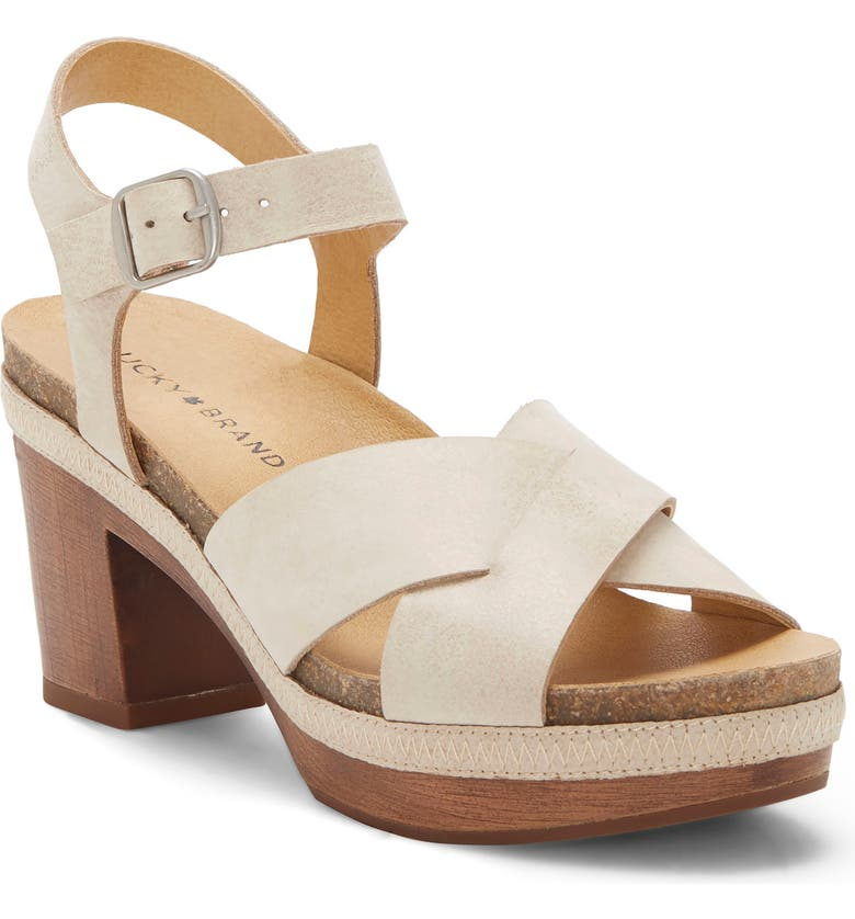 LUCKY BRAND Harvia Platform Sandal, Main, color, WHITE STONE LEATHER