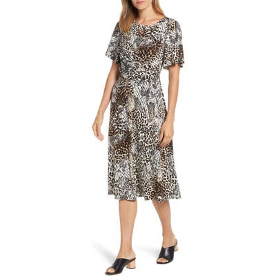 Chaus Exotic Animal Print Ruched Midi Dress, Black