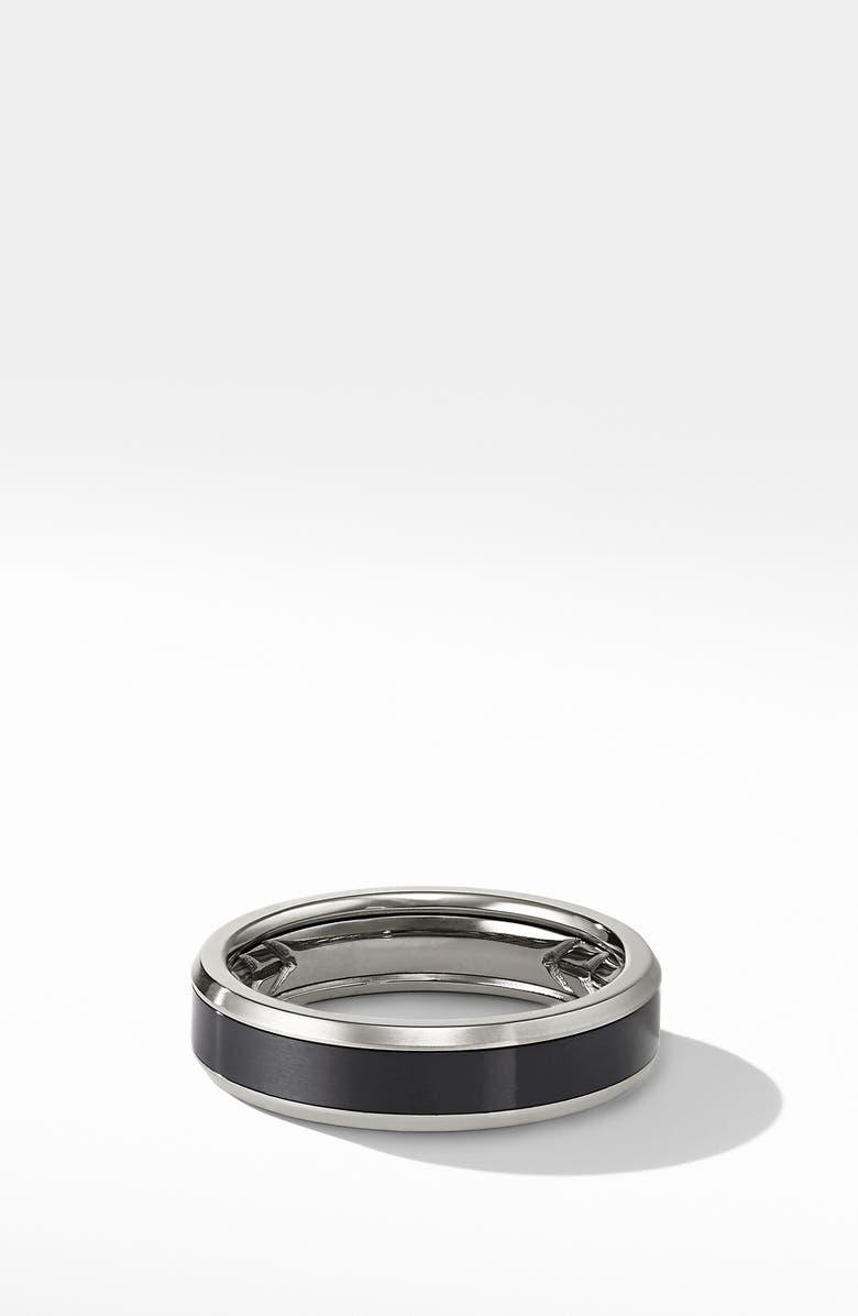 DAVID YURMAN Beveled Titanium Band Ring, Main, color, BLACK TITANIUM/ GREY TITANIUM