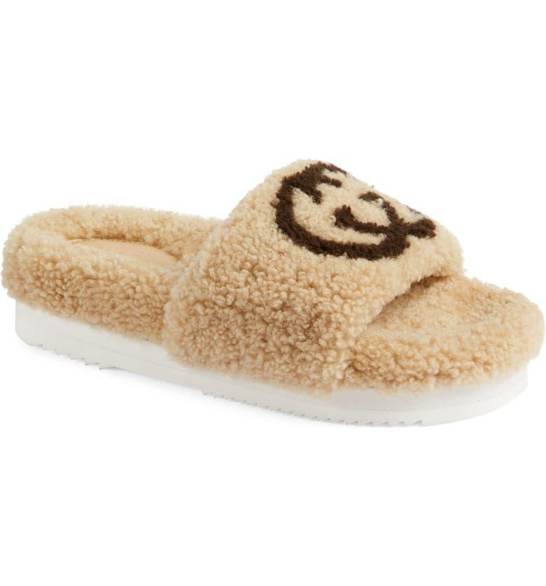 GUCCI Eileen Logo Genuine Shearling Slide Sandal, Main, color, BUTTERSCOTCH/ COCOA