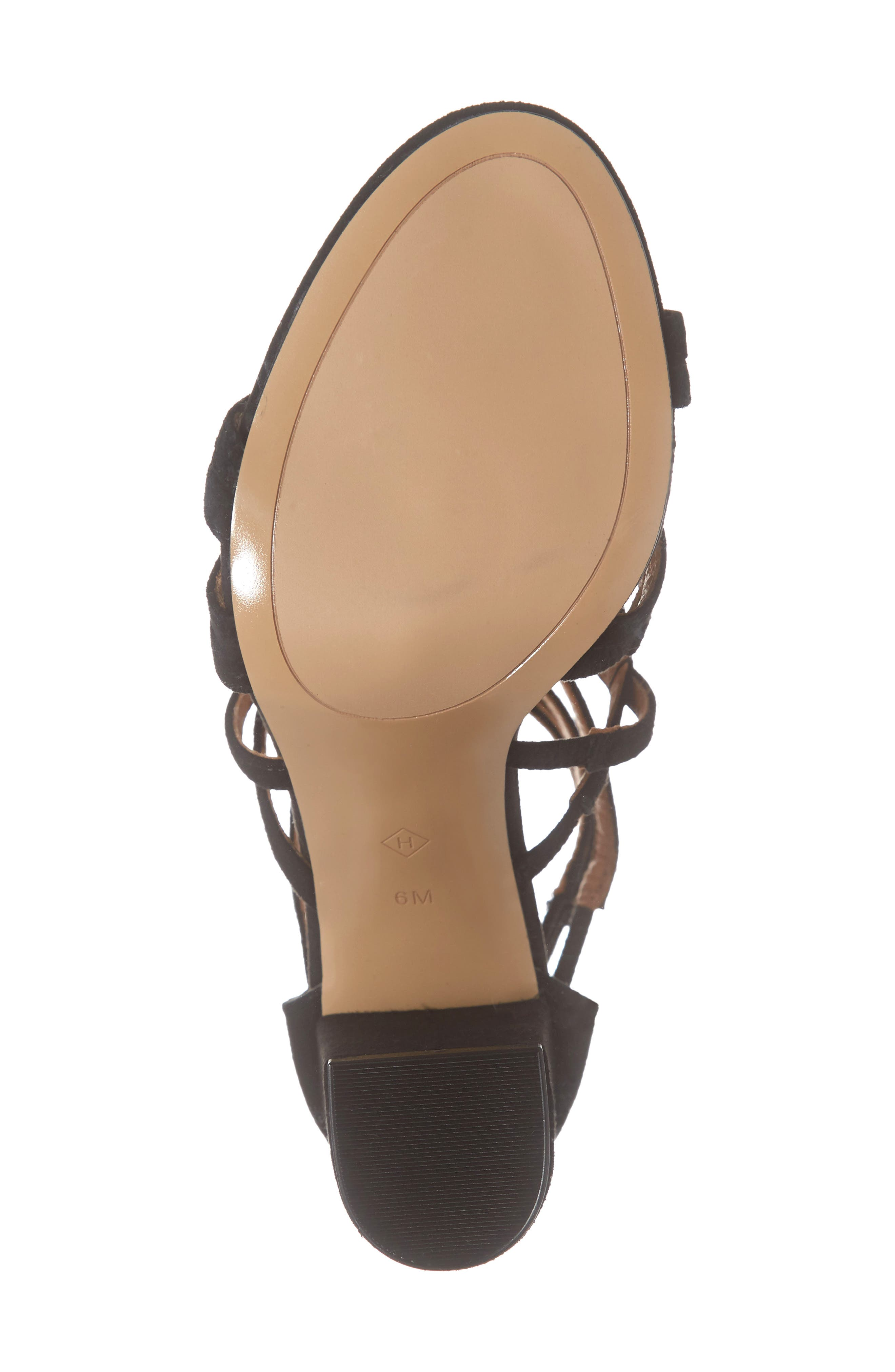 ,                             Strappy Block Heel Sandal,                             Alternate thumbnail 6, color,                             BLACK SUEDE
