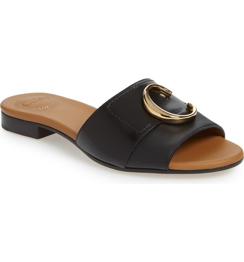 CHLOÉ Cstory Slide Sandal, Main, color, BLACK LEATHER