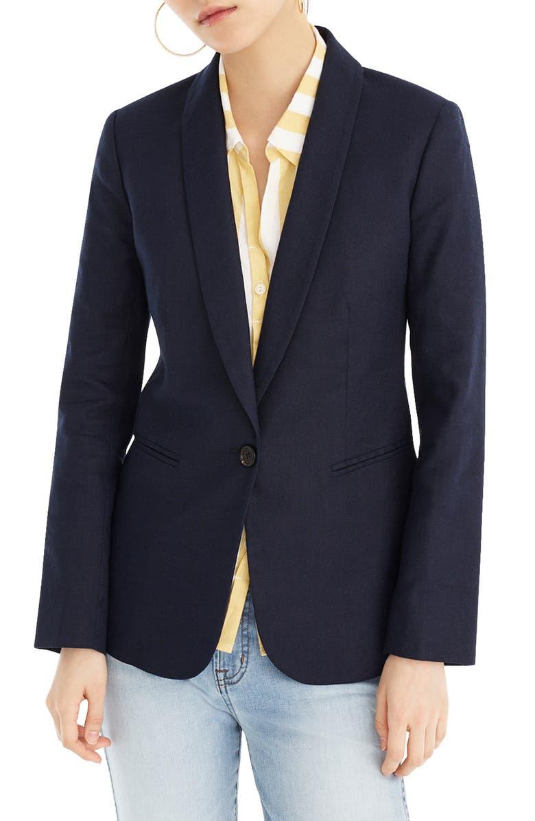J.CREW Parke Stretch Linen Blend Blazer, Main, color, NAVY