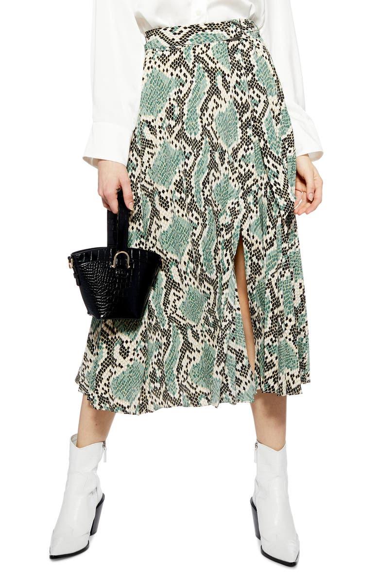 c90e33c39d Topshop Python Print Pleat Midi Skirt | Nordstrom