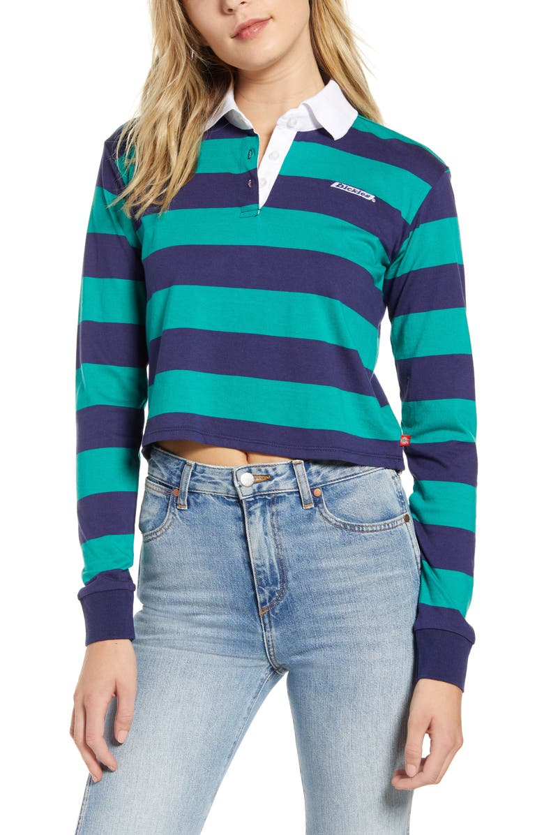 DICKIES Stripe Crop Rugby Shirt, Main, color, NAVY GREEN
