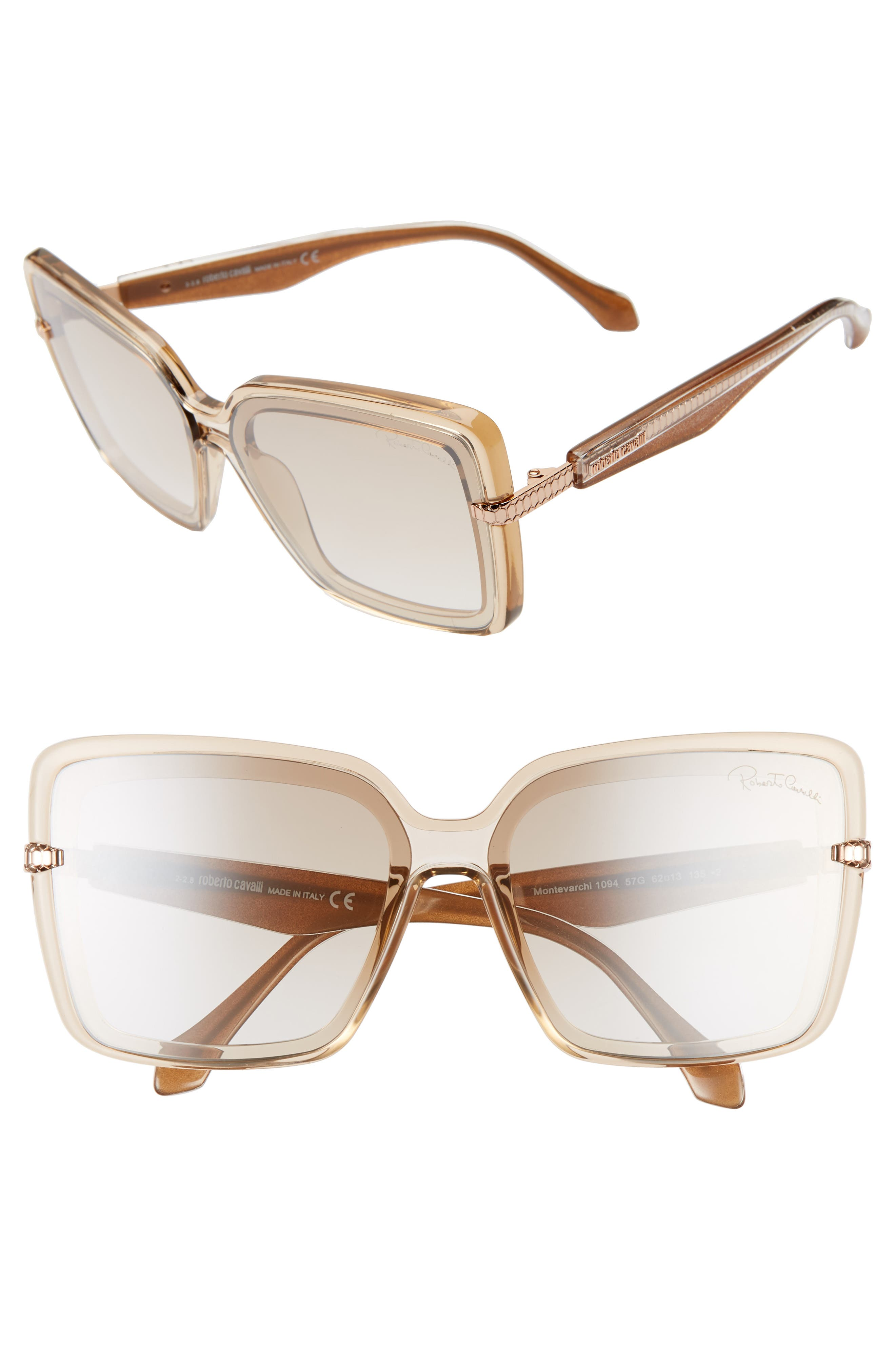 Roberto Cavalli 62Mm Oversize Flat Front Butterfly Sunglasses - Shiny Beige/ Brown Mirror