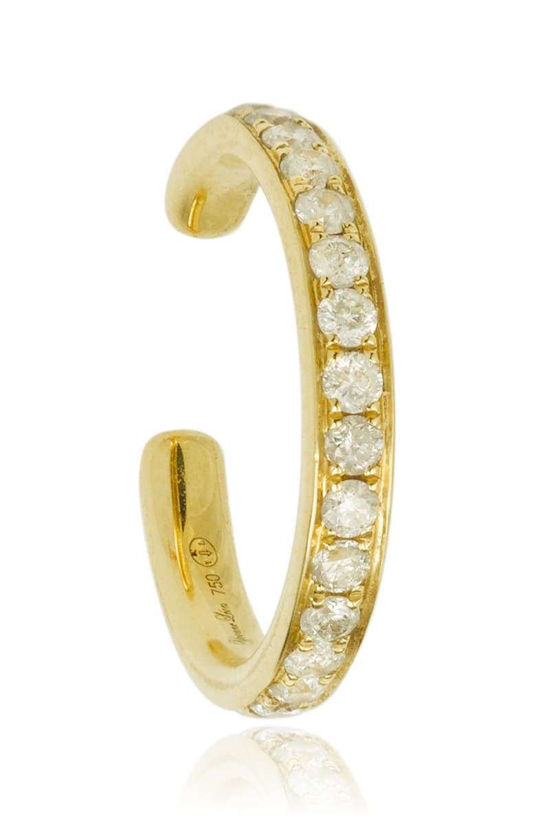 YVONNE LÉON Grey Diamond Ear Cuff, Main, color, YELLOW GOLD