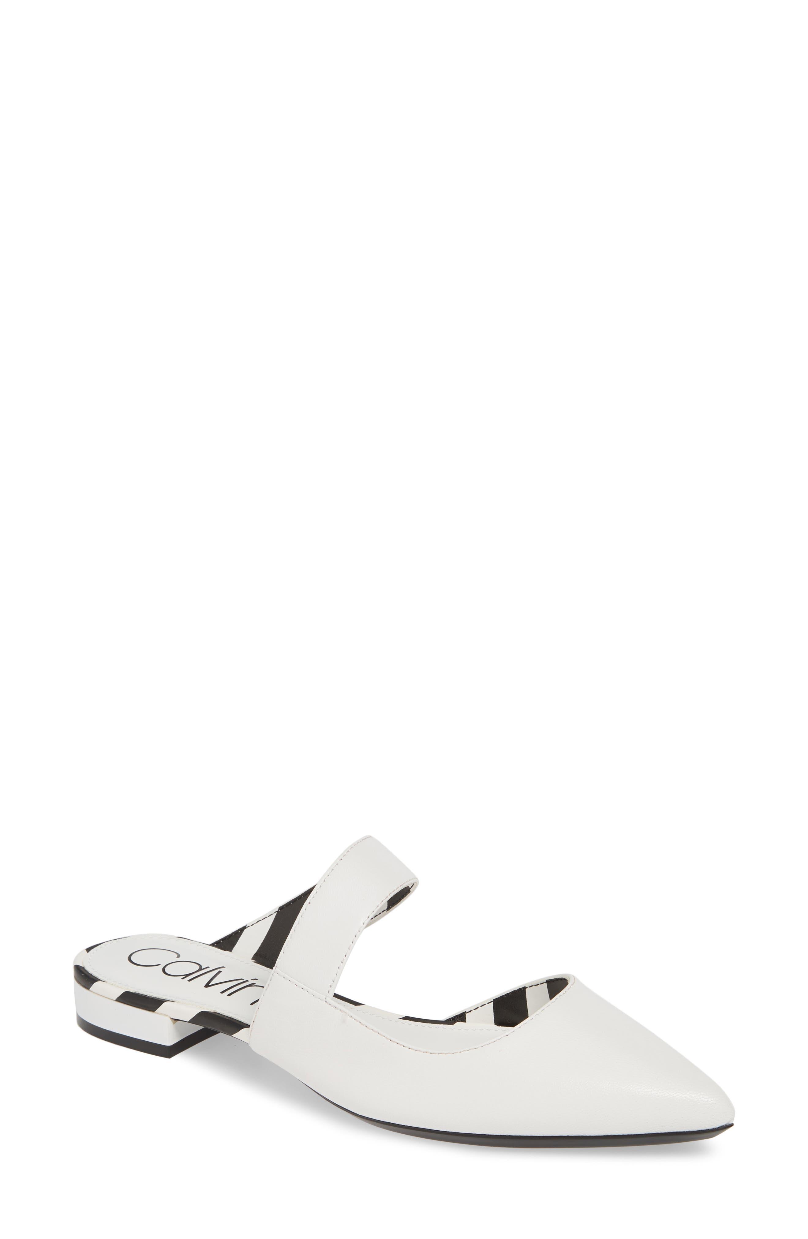 Calvin Klein Arleys Asymmetrical Pointy Toe Mule- White