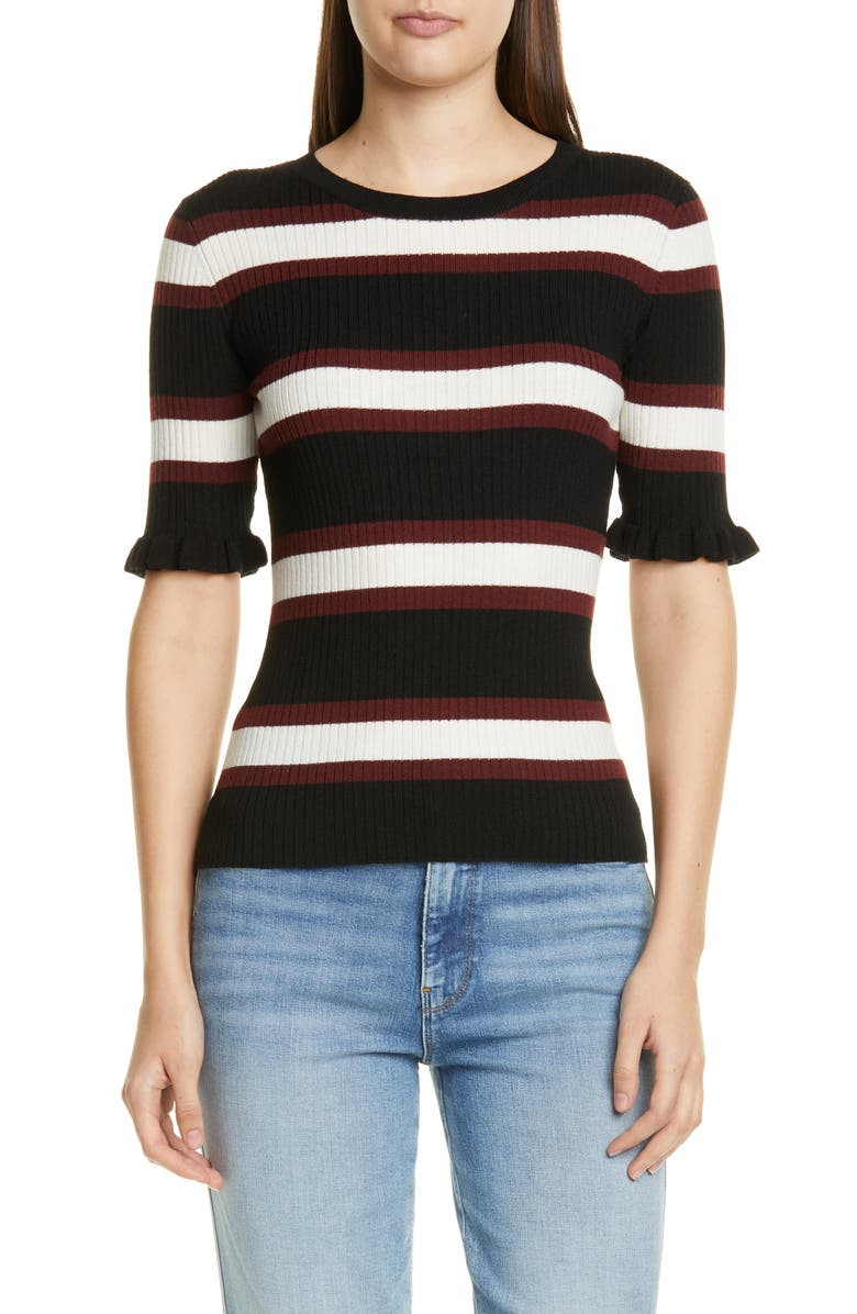 FRAME '70s Ruffle Cuff Wool Blend Sweater, Main, color, NOIR MULTI
