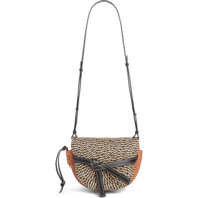 Loewe Gate Small Raffia & Leather Crossbody Bag - Brown