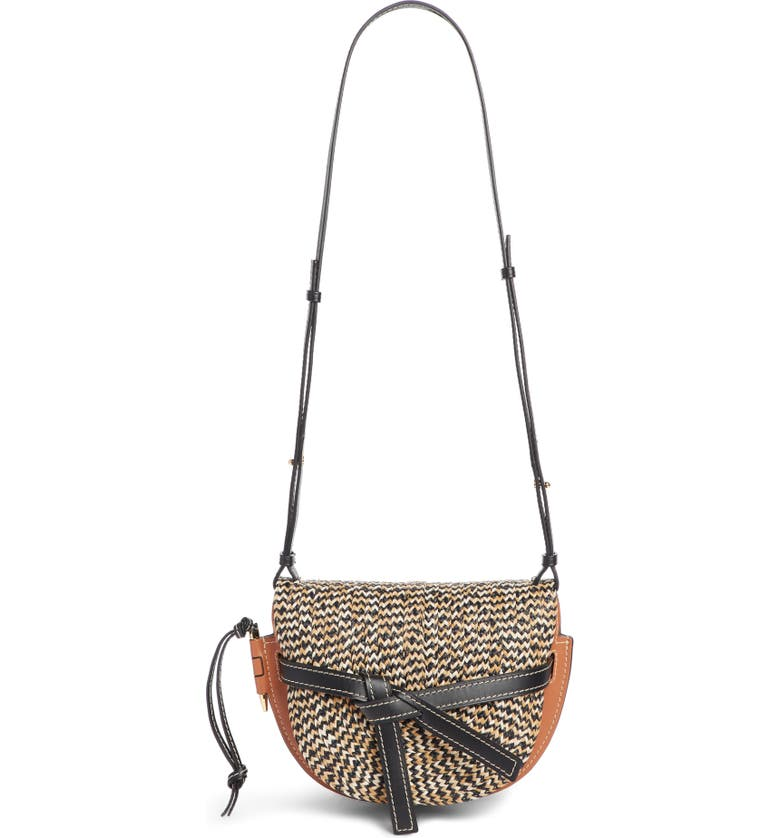 LOEWE Gate Small Raffia & Leather Crossbody Bag, Main, color, 200