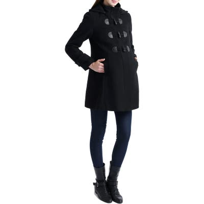 Kimi And Kai Paisley Wool Blend Maternity Duffle Coat, Black