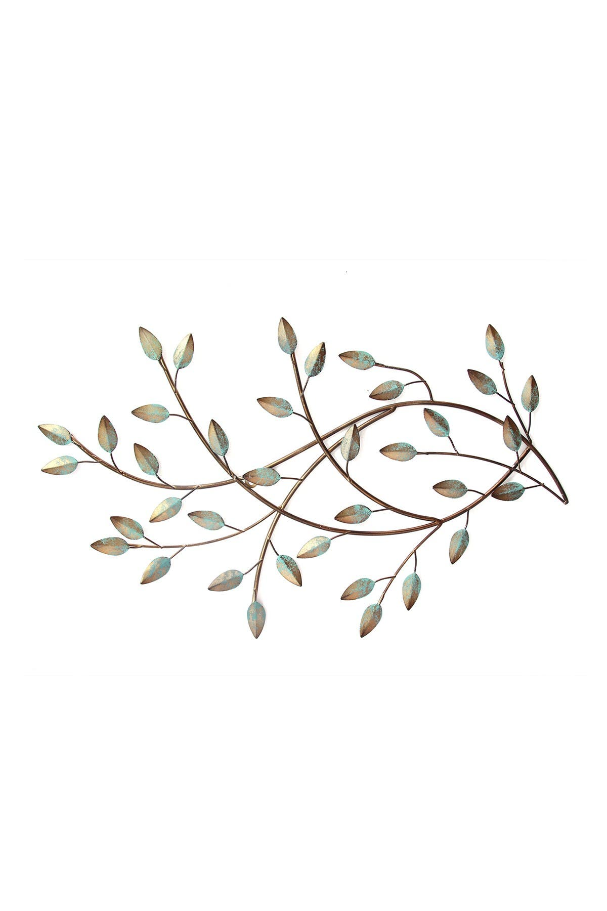 Image of Stratton Home Green Patina Blowing Leaves Wall Decor