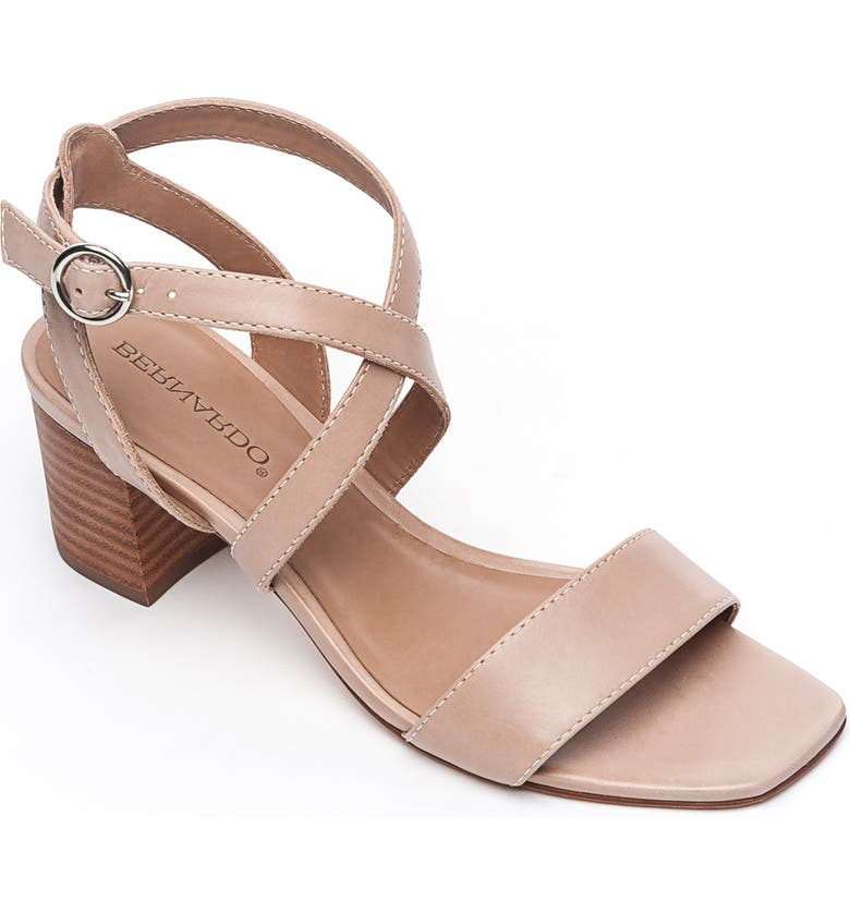 BERNARDO Brielle Block Heel Sandal, Main, color, BLUSH TAN LEATHER