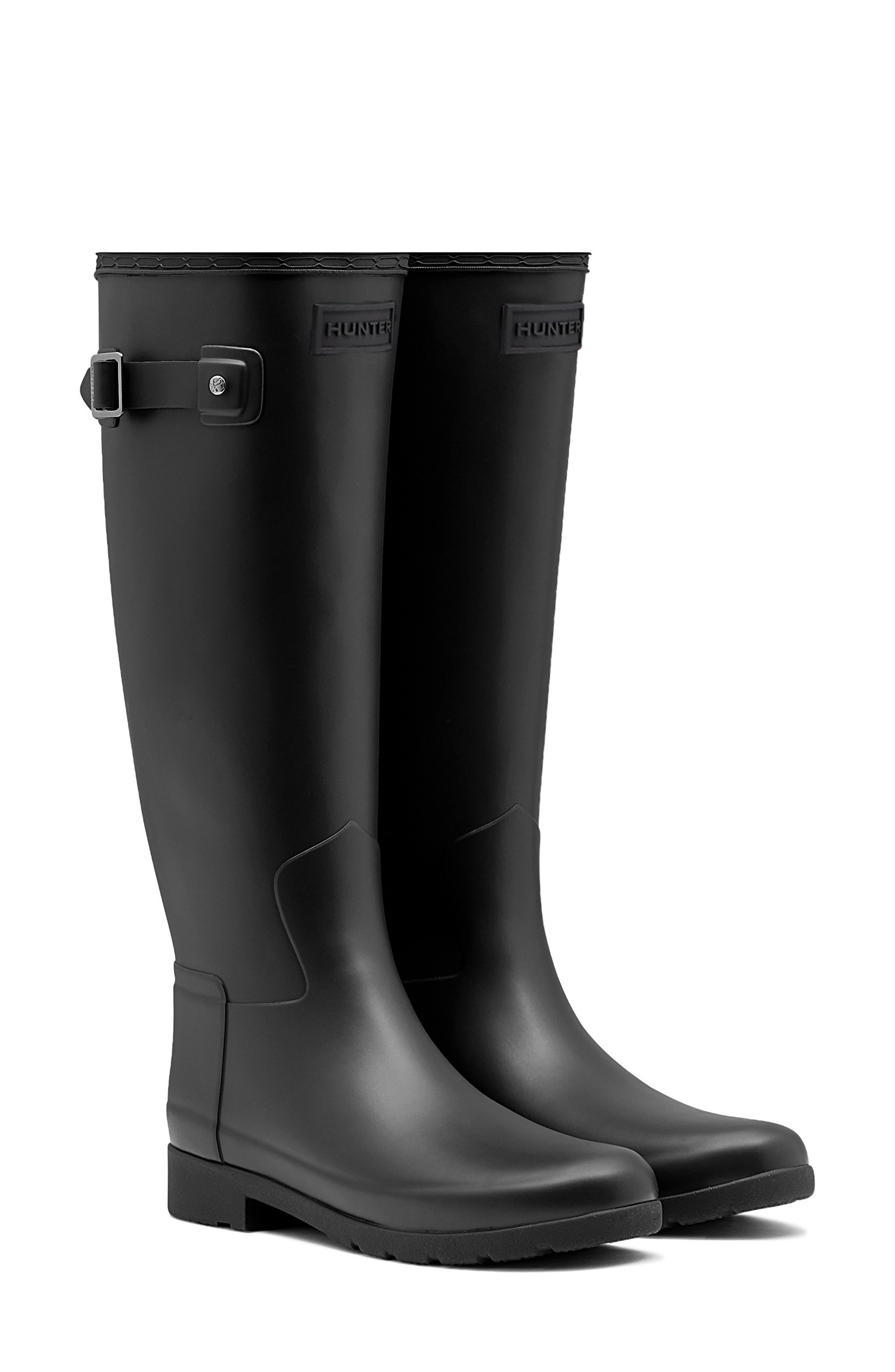 Hunter Original Refined Waterproof Rain Boot, Narrow Calf N - Black