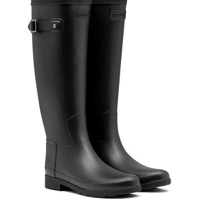 Hunter Original Refined Waterproof Rain Boot, Regular Calf- Black