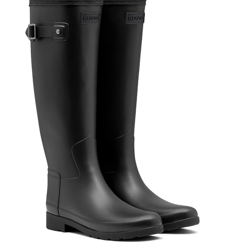 HUNTER Original Refined Waterproof Rain Boot, Main, color, BLACK
