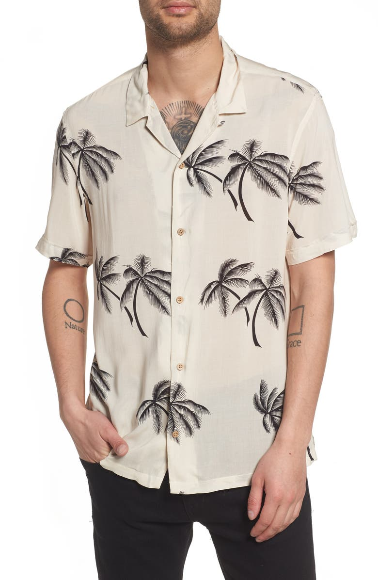 ALLSAINTS Offshore Regular Fit Short Sleeve Sport Shirt, Main, color, ECRU