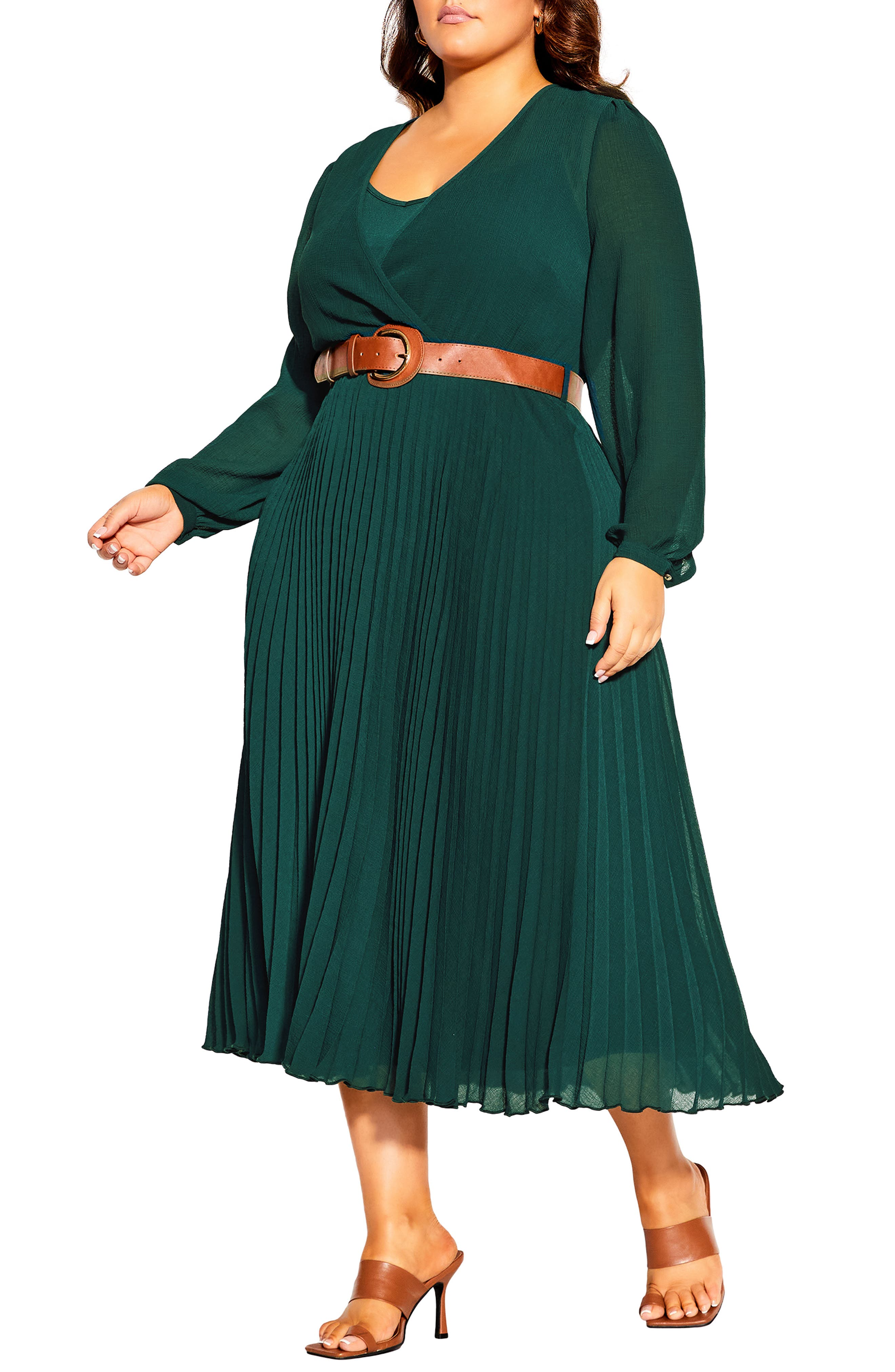 Pleated Belted Long Sleeve A-Line Midi Dress