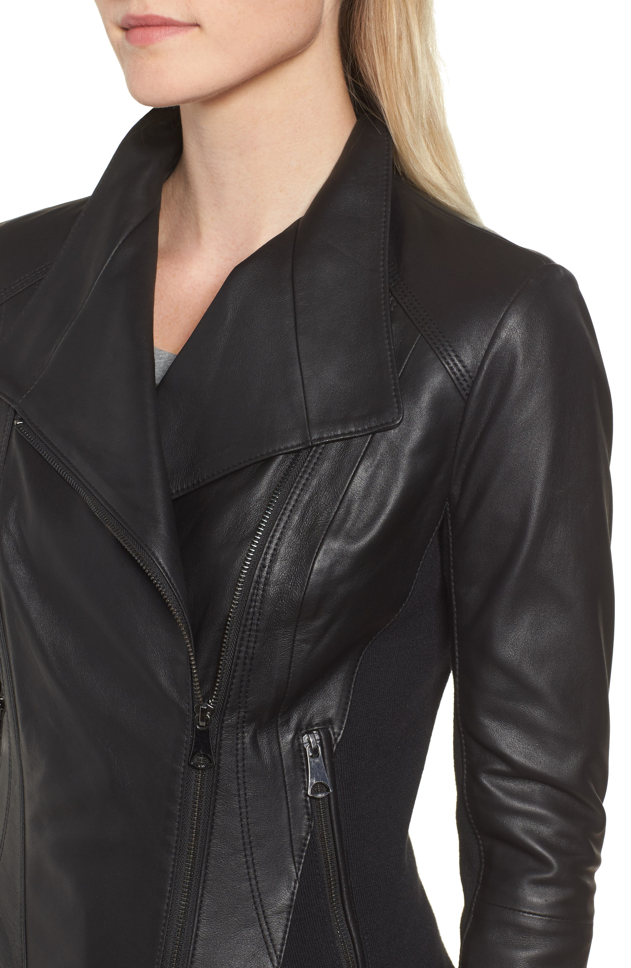 ,                             Marc New York by Andrew Marc Felix Stand Collar Leather Jacket,                             Alternate thumbnail 5, color,                             BLACK