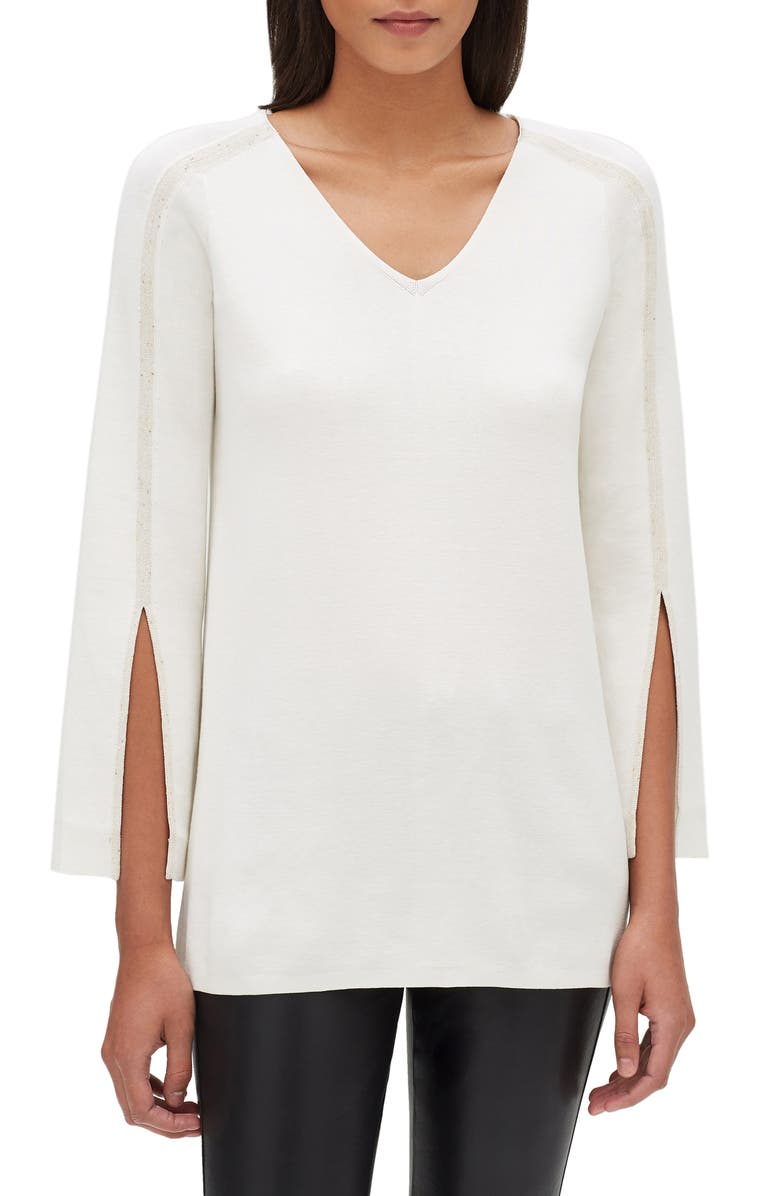 LAFAYETTE 148 NEW YORK Sequin Embellished Cotton Blend Tunic, Main, color, 100